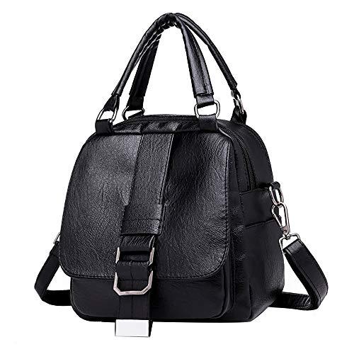 Pelle In Morbida Vera Borsa Messenger Zaino Nero funzione Spalla Casual Moda Amuster Multi Tracolla Elegante Bag Donna 85wB8qU