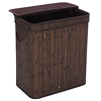 "SONGMICS Folding Laundry Basket with Lid Handles and Removable Liner Bamboo Hampers Dirty Clothes Storage Rectangular Dark Brown ULCB63B - REMOVABLE LINER BAG: Liner bag is removable and washable, just take the liner bag out when you carry the dirty things LARGE LAUNDRY HAMPER: Amazing size of 20.5""L x 12.7""W x 24""H offers large room for storage, keep your room clean and tidy FLIP-TOP LID: Flip top saves you the trouble of putting the lid on and off repeatedly helps conceal smelly clothes without being an eye sore - laundry-room, hampers-baskets, entryway-laundry-room - 51vcxGGxVdL. SS400  -"