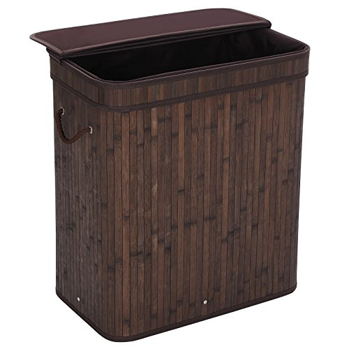 SONGMICS Folding Laundry Basket with Lid Handles and Removable Liner Bamboo Hampers Dirty Clothes Storage Rectangular Dark Brown ULCB63B (Hamper Baskets With Lids)