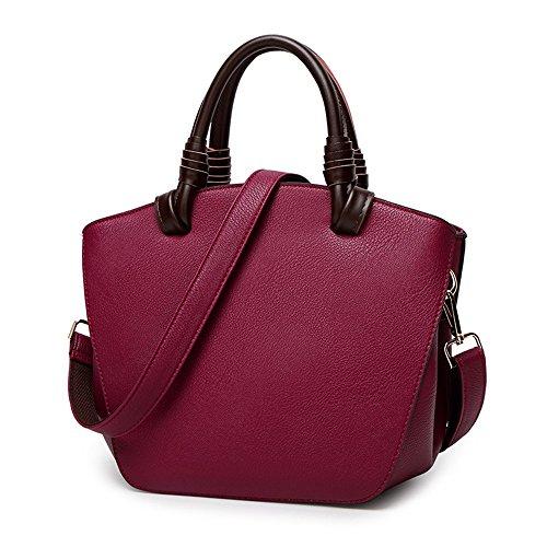Mn&sue Retro Handmade Doctor Style Cowhide Genuine Leather Roomy Top Handle Lady Purse Reversible Handbag (purple) Ylpjylq5033p