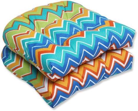 Pillow Perfect Outdoor Zig Zag Wicker Seat Cushion, Orangeade, Set of 2