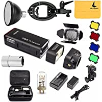GODOX AD200 Pocket Flash TTL 2.4G HSS 1/8000s Double Head 200Ws with 2900mAh Lithium Battery,BD-07 Barn Door Kit,S-type Bowens Mount Bracket,Standard Reflector,Flash Bulb Protector Cover
