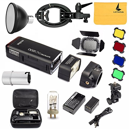 GODOX AD200 Pocket Flash TTL 2.4G HSS 1/8000s Double Head 200Ws with 2900mAh Lithium Battery,BD-07 Barn Door Kit,S-type Bowens Mount Bracket,Standard Reflector,Flash Bulb Protector Cover by Godox