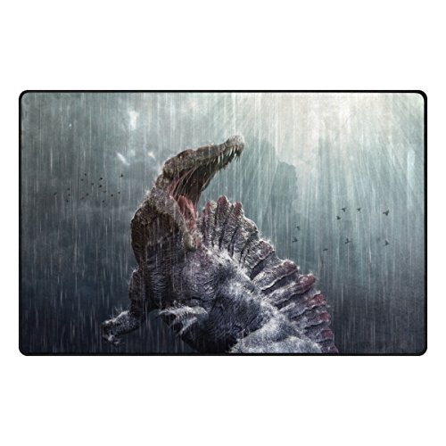 Florence Cool Spinosaurus Dinosaur With Tropical Storm Area Rug Non-Slip Doormats Carpet Floor Mat for Living Room Bedroom 60 x 39 inches