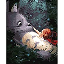 Shukqueen Diy Oil Painting, Adult's Paint by Number Kits, Acrylic Painting Big Totoro 16X20 Inch (Framed Canvas)