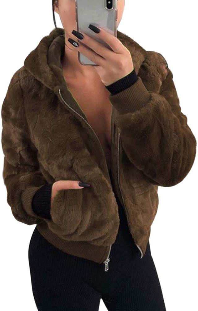 NVXIYYA Women Winter Long Sleeve Hooded Faux Fur Coat Warm Open Front Jacket Parka Coat Overcoat with Pockets S-XXL