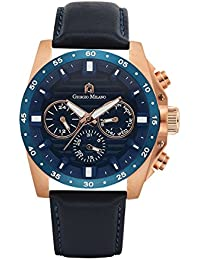 103RG45 IP rose gold w/IP blue bezel stainless steel multi-functional watch