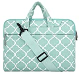 MOSISO Quatrefoil Style Canvas Fabric Laptop Sleeve Case Cover Bag with Shoulder Strap for 15-15.6 Inch MacBook Pro, Notebook Computer, Hot Blue