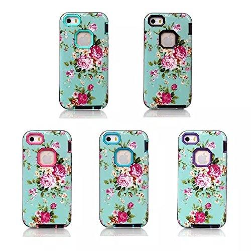 Coque iPhone 5C, Lantier lourd Case 3-Layer Duty hybride pour Apple iPhone 5C résistant aux chocs de protection antichoc en silicone souple intérieure (Rose + Noir)
