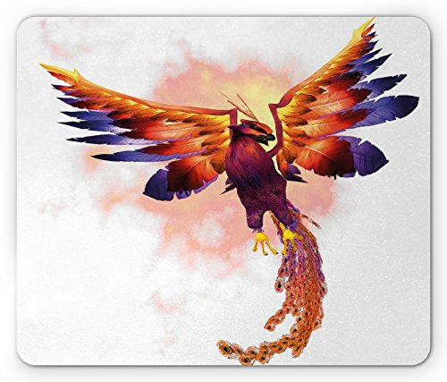 Lunarable Animal Mouse Pad, Phoenix Firebird with Large Wings Illustration Mythical Print, Standard Size Rectangle Non-Slip Rubber Mousepad, Orange and Blue
