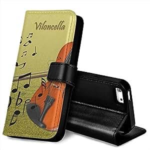 Música MUS037, Violoncella y Notas de Música, Negro Funda de Piel Cuero Case Magnética con Función de Soporte Carcasa con Diseño Texturado para Apple iPhone 5 / 5S