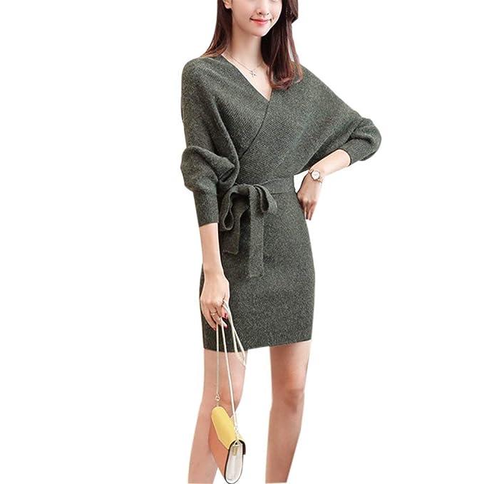 Vestido De Punto Mujer Primavera Otoño Elegante Unicolor Vestidos Fashion Hipster Especial Estilo Vintage con Cinturón V-Cuello Manga Larga Slim Fit ...