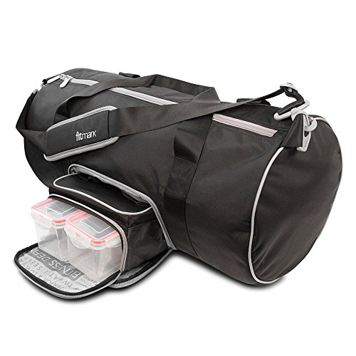 Custom Metal Lunch Boxes - Fitmark Transporter Duffel Bag with Removable Meal Prep Insulated Bag with Portion Control Meal Containers, Reusable Ice Packs, Black