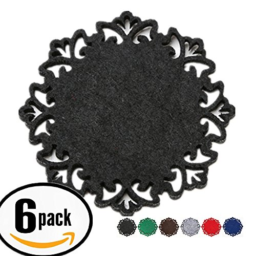 Dulce Cocina Classy Housewarming Gift, Elegant Black, Coasters Set of 6 - Large Round 4.5 inch