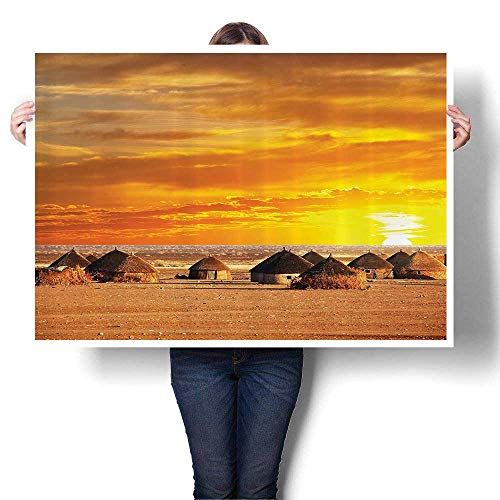 Canvas Wall Art eAfrican Landscape of Small Town with Horiz Skyline Dawn Ethiopian Canvas Texture Decoration,36