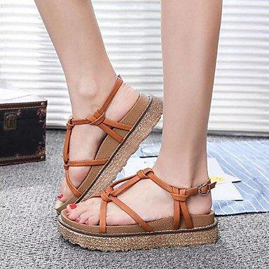Sandalias Primavera Verano Otoño PU Confort vestir casual talón plano gris marrón Brown