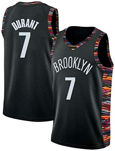 Lalagofe Mens Brooklyn Nets #7 Kevin Durant Jersey Black City Edition