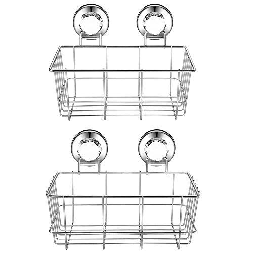 Deep Cup - iPEGTOP Suction Cup Deep Shower Caddy Bath Wall Shelf for Large Shampoo Shower Gel Holder Bathroom Storage - Rustproof Stainless Steel, 2 Pack