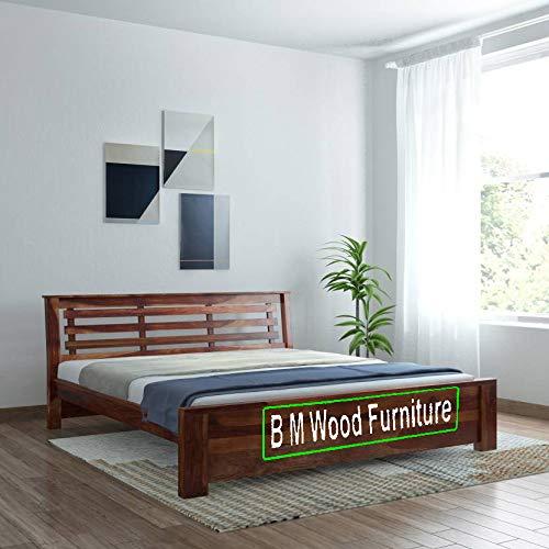 BM WOOD FURNITURE Sheesham Wood Bed for Bedoom  Queen Size  Solid Bed Bed   Natural Teak Brown
