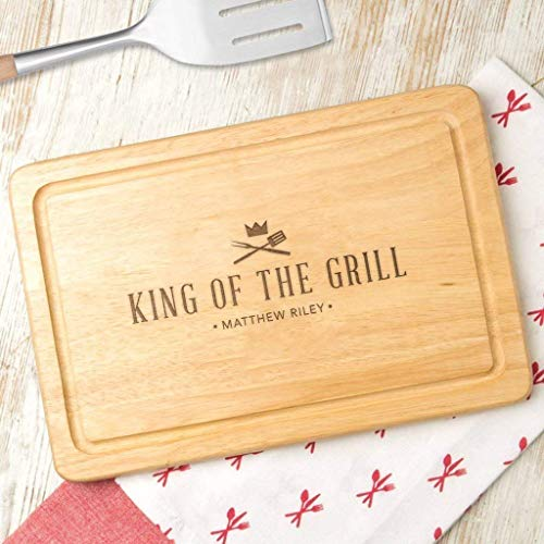 Personalized 'King Of The Grill' Wooden BBQ Cutting Board/Grilling Gifts For Men/Personalized Cooking Gifts For Men/BBQ Gifts For Men