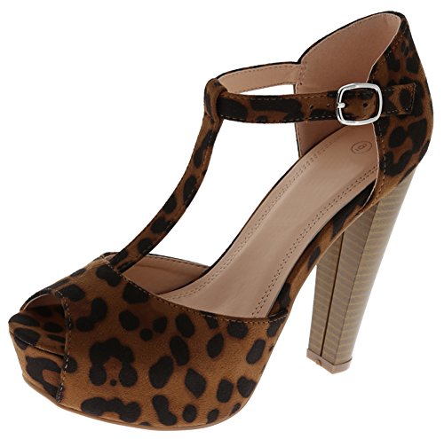 Cambridge Select Women's Peep Toe T-Strap Buckled Ankle Chunky Platform Stacked High Heel Sandal,7 B(M) US,Leopard IMSU