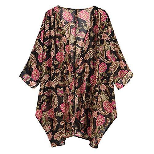 Splicing Con Tops Estampada Primavera Outdoor Larga Casual Jerséis De Cárdigans Otoño Rojo Chaqueta Cardigan Luckycat Jersey Kimono Mujer Outerwear Para Manga Abrigo xEn7yXq
