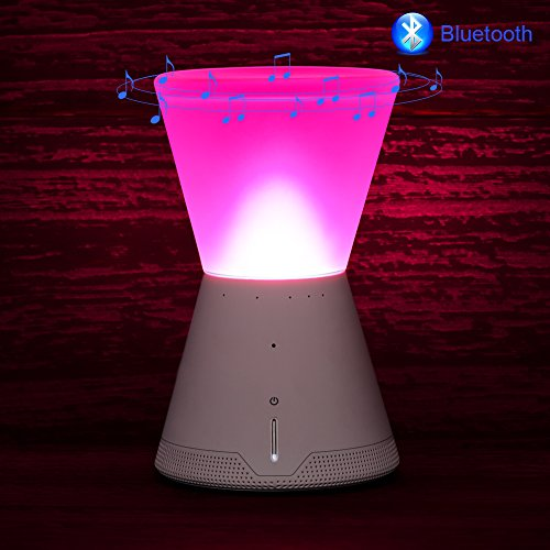 Touch Bedside Lamp,AWON Table Lamp+Portable Wireless Bluetooth Speaker with Rotating Switch, Best Christmas Gift for Teens Girl and Kids Children (White)