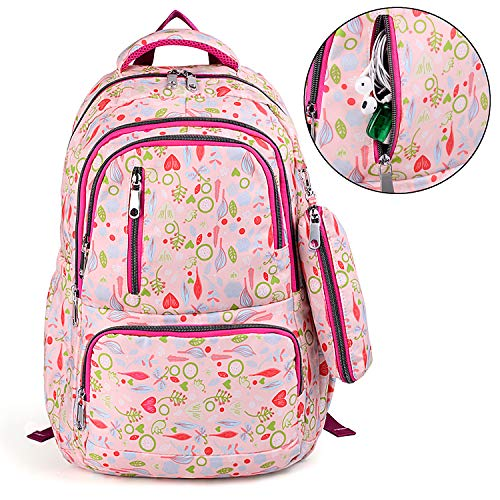 Backpack Bookbag Fashion Rucksack with Shoulder Leaves Pencil College Nylon UTO School Pattern Waterproof Purse Bag Pink R507xqdw