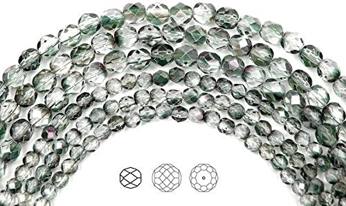 (6mm (204 beads) Crystal Mint Shimmer Luster coated, Czech Fire Polished Round Faceted Glass Beads, 3x16 inch strand)