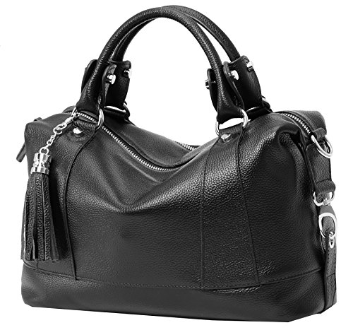 Heshe Leather Shoulder Bag Womens Tote Top Handle Handbags Cross Body Bags for Office Lady (Black) (Med Black Leather Purse)