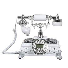 Antique European Telephone Home Fixed Telephone Fashion Creative Retro Landline Black White 25CM*26CM*22CM (Color : White)