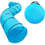 """Houseables Dog Tunnel, Agility Equipment, 18 Ft Long, 24"""" Open, Polyester, Tunnels for Training Small & Medium Dogs, Exercise"""