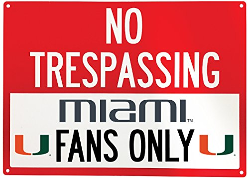NCAA No Tresspassing-Fans Only Metal Sign-Licenced College Fans Sign (Miami Hurricanes) - Street Ncaa Miami Hurricanes Sign