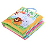 MonkeyJack 10 Pages Soft Cloth Cognize Durable Book Chinese English Colors Shapes Educational Toys for Baby Kids Development Forest Animal