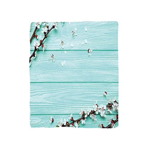 VROSELV Custom Blanket Mint Spring Cherry Blossom Petals Branch on Rustic Wooden Planks Seasonal Picture Soft Fleece Throw Blanket White Brown (Plank Park Lift)