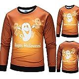 Farjing Mens Casual Halloween Ghost Spirit 3D Print Party Long Sleeve Hoodie Top Blouse(L,Orange)
