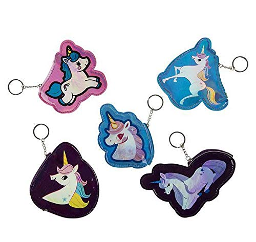5'' Metallic Unicorn Coin Purse Keychain, Case of 288