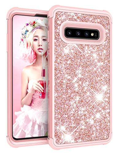 Galaxy S10 Plus Case, Dooge Luxury Glitter Sparkle Bling Case Three Layer Heavy Duty Hybrid Sturdy Armor Defender Shockproof Full-Body Protective High Impact Cover Case for Samsung Galaxy S10+ Plus ()
