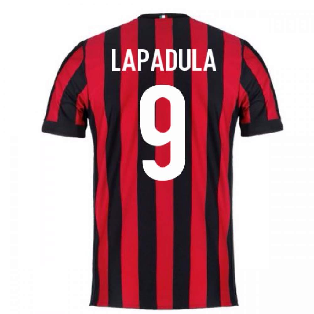 2017-2018 AC Milan Home Football Soccer T-Shirt Trikot (Gianluca Lapadula 9)