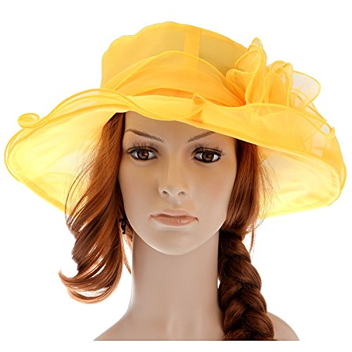 Cheap Derby Hat (Kentucky Derby Party Hat Farktop Women's Fascinator Flowers Wide Brim Organza Church British Tea Party Wedding Dress Cap)