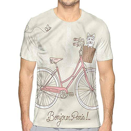 t Shirt Printer Dog,Postcard from Paris Bicycle Junior t Shirt XL ()