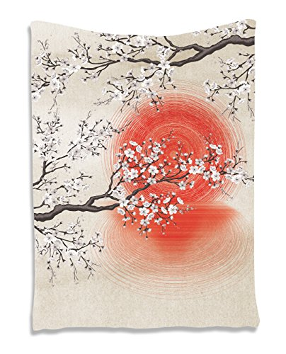 Ambesonne Art Tapestry Wall Decor by, Cherry Blossom Sakura Branches Japanese Sun and Reflection Shadow Patterns Art Theme Cream Pearl Living Room Bedroom Tapestry Wall Hanging, Beige Brown Red (Japanese Tapestry)