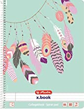 Herlitz 50016495 – Cuaderno de espiral (A4, 80 hojas con renglones con margen plumas