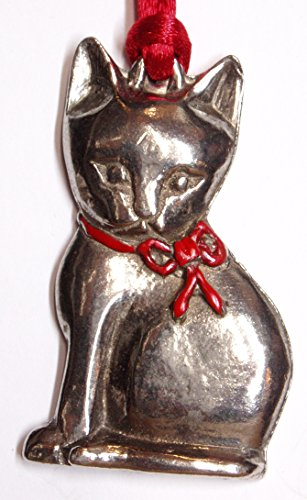 Hutton Metalcrafts, Inc. Sitting Cat Pewter Christmas Ornament. Fine Pewter, Made in USA!
