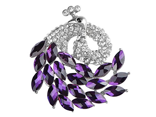 (Alilang Elegant Silver Peacock Bird Amethyst Purple Crystal Rhinestone Fashion Lapel Brooch Pin)