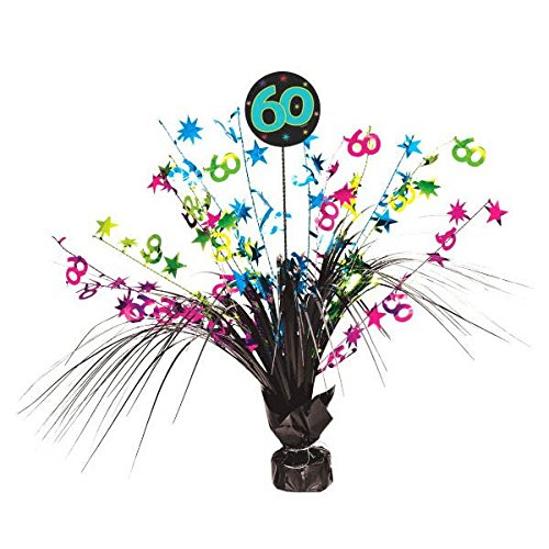 The Party Continuous 60th Birthday Party Spray Table Centerpiece Decoration, 1 Pieces, Multi, 15