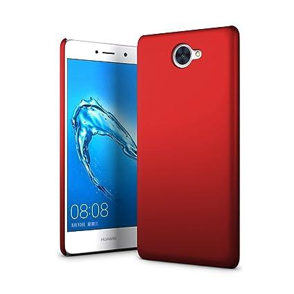 SLEO Funda para Huawei Y7 Ultra Ligero PC Carcasa Protectora de teléfono Cover de Parachoques Duro Cubierta Protectora para Huawei Y7 - Rojo