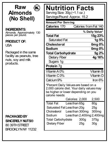 Sincerely Nuts - Natural Whole Raw Almonds Unsalted No Shell | 3 Lb. Bag | Low Calorie, Low Sodium, Kosher, Vegan, Gluten Free | Gourmet Kosher Snack Food | Source of Fiber, Protein, Nutrients by Sincerely Nuts (Image #6)