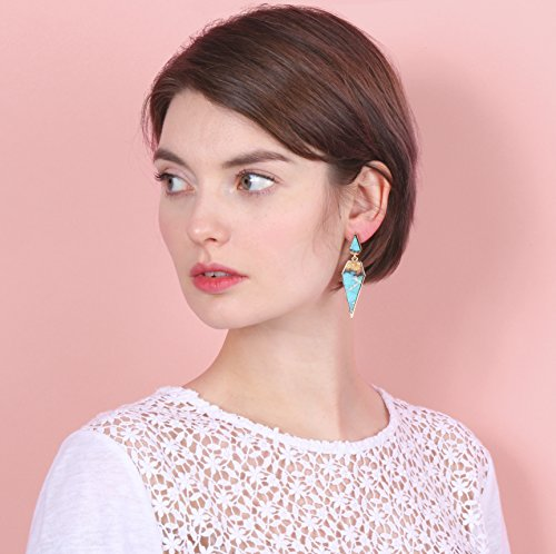 Bohemian Wood And Marble Effect Pentagon Shaped Drop Statement Earrings by BONALUNA (Image #5)