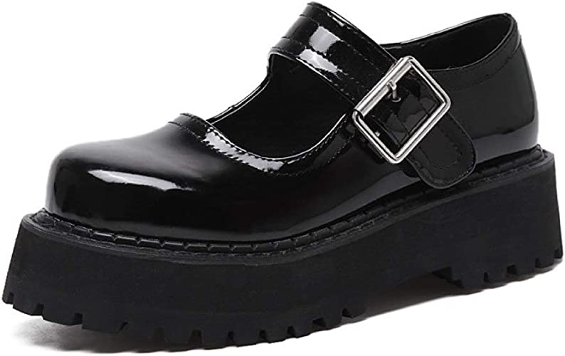 Women/'s College Comfy Ankle Strap Mary Janes Shoes Low Block Heel Casual 44//46 D